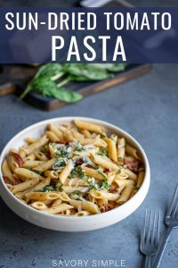 Sun-dried tomato pasta photo with text