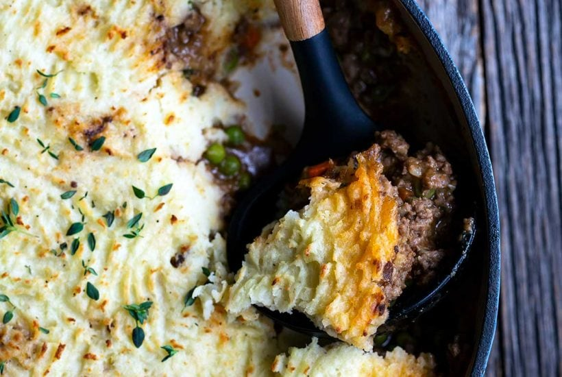 Shepherds pie with a scoop removed