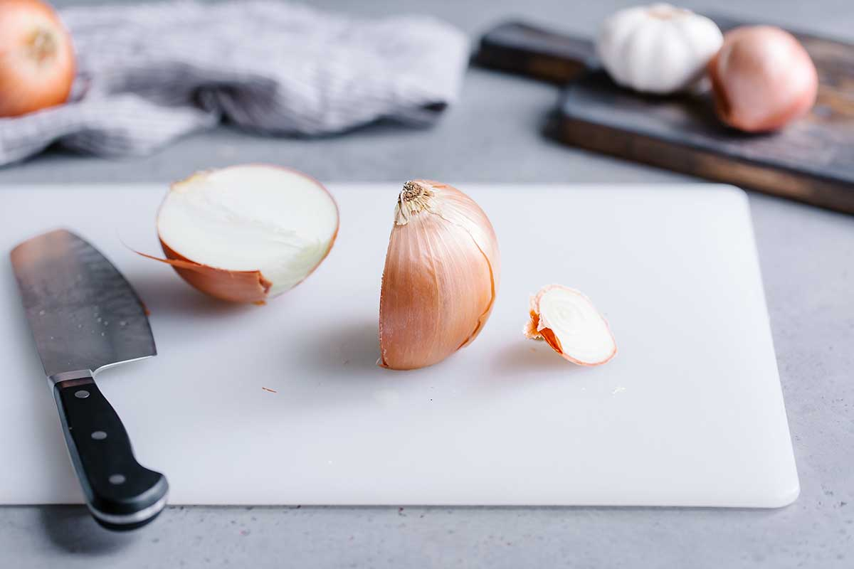 How to chop an onion in half correctly.