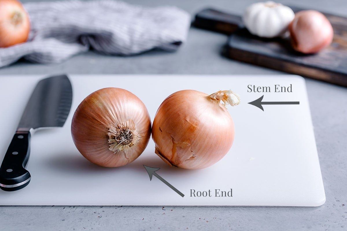 How to chop an onion diagram