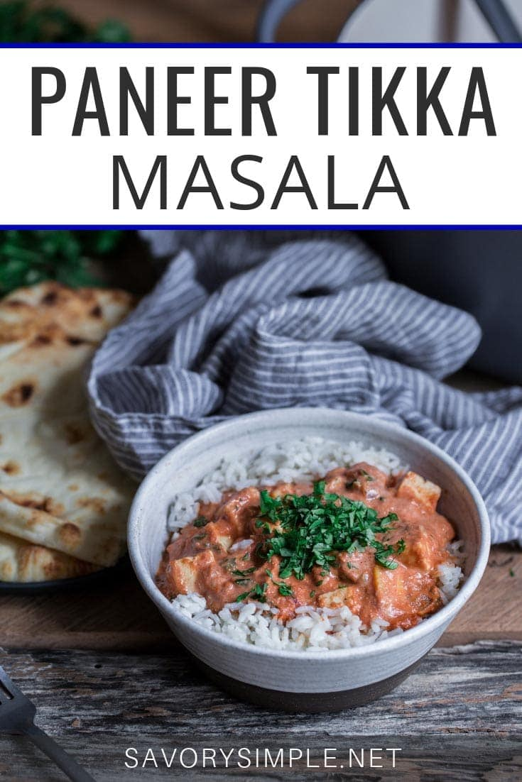 Paneer Tikka Masala photo with text overlay