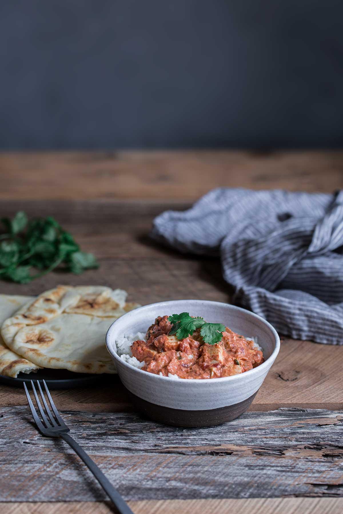 Paneer tikka masala in a bowl