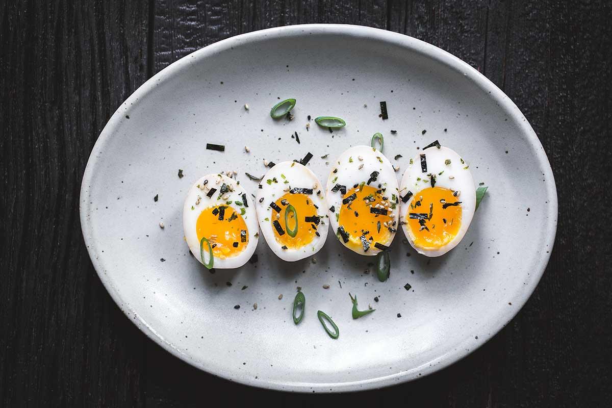 Ramen eggs garnished