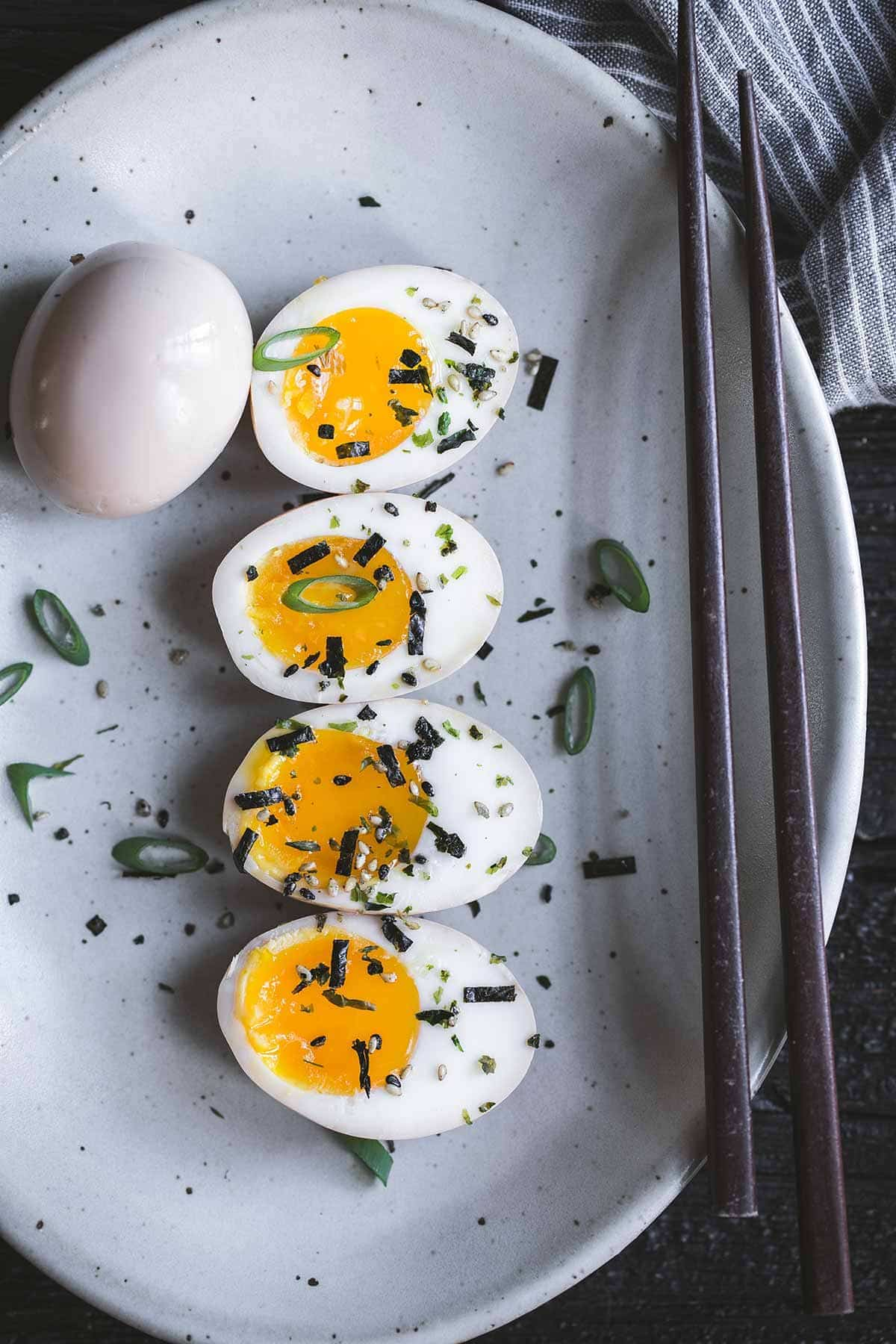 Ramen eggs close up