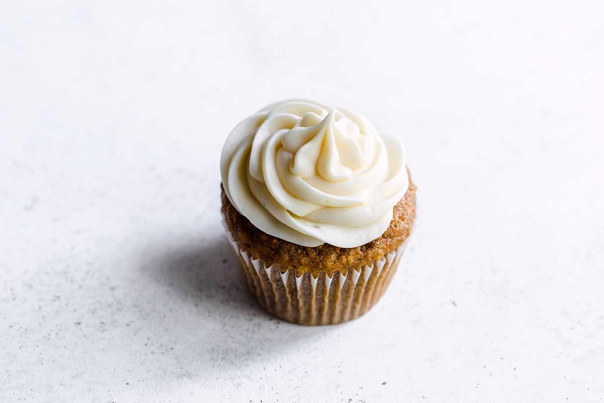 A single carrot cupcake