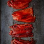 Roasted Red Peppers on a sheet pan