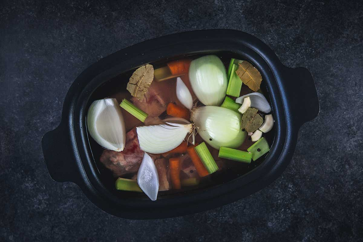 Overhead shot of ingredients in slow cooker