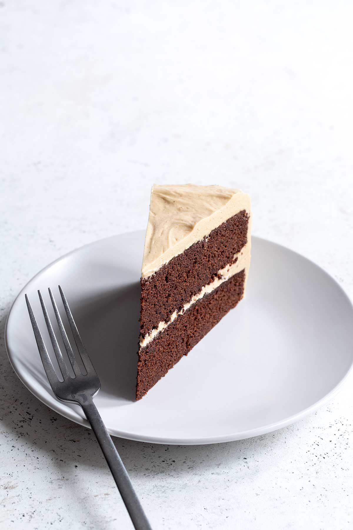 chocolate peanut butter cake slice with fork