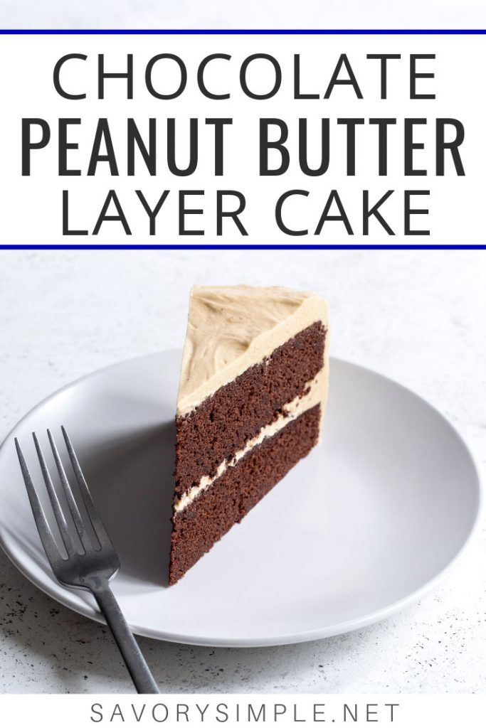 This chocolate peanut butter cake recipe is my new favorite. Two layers of moist, rich chocolate cake are frosted with a fluffy peanut butter meringue buttercream.