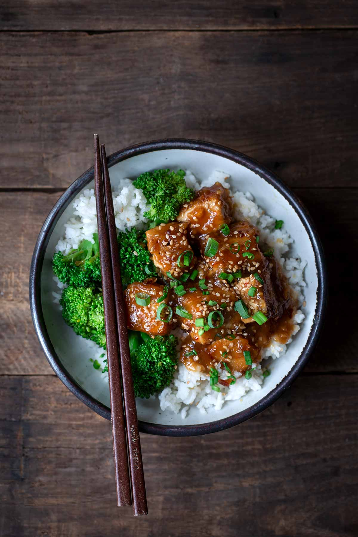 General Tso's Tofu with chopsticks