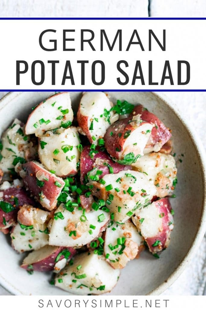 Old-fashioned German potato salad with text overlay