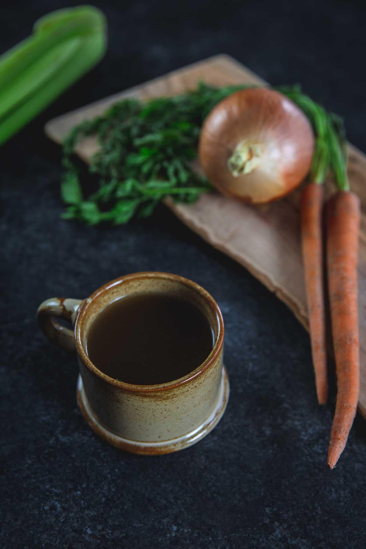 Slow Cooker Bone Broth in a mug