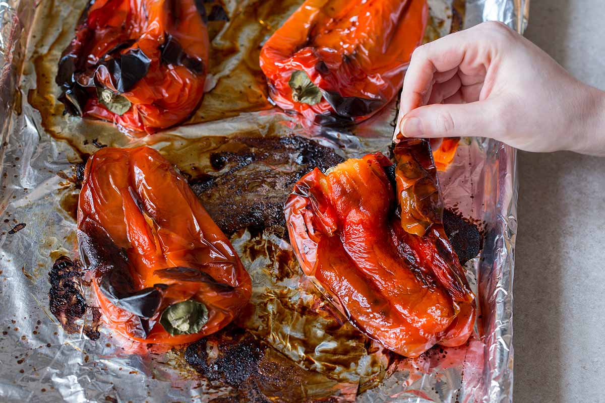 About to peel roasted red peppers