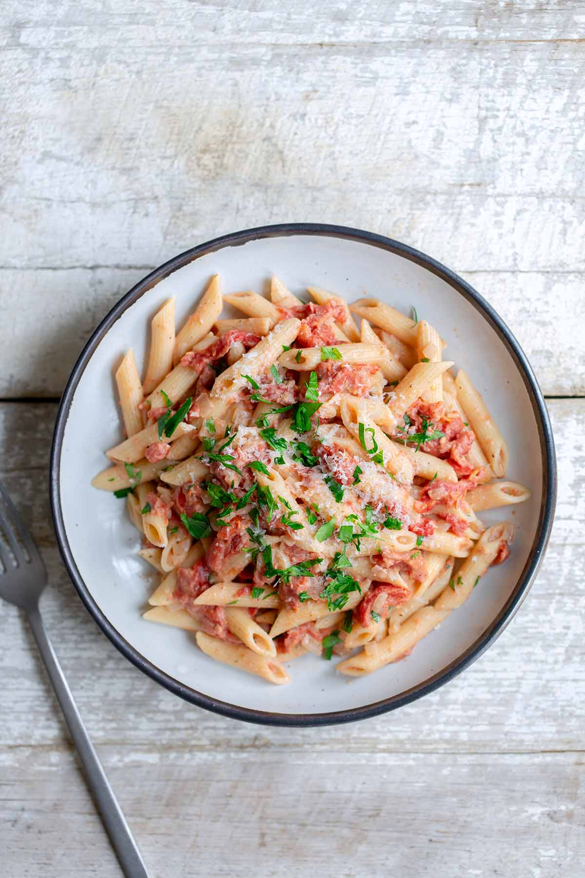 Penne Alla Vodka recipe prepared from whole peeled tomatoes.