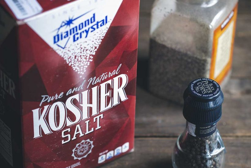 Salt and pepper to taste - a box of salt and a pepper mill