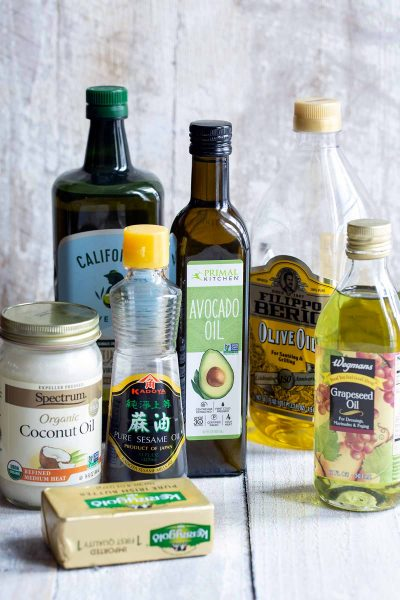 Various cooking oils and fats with different smoke points