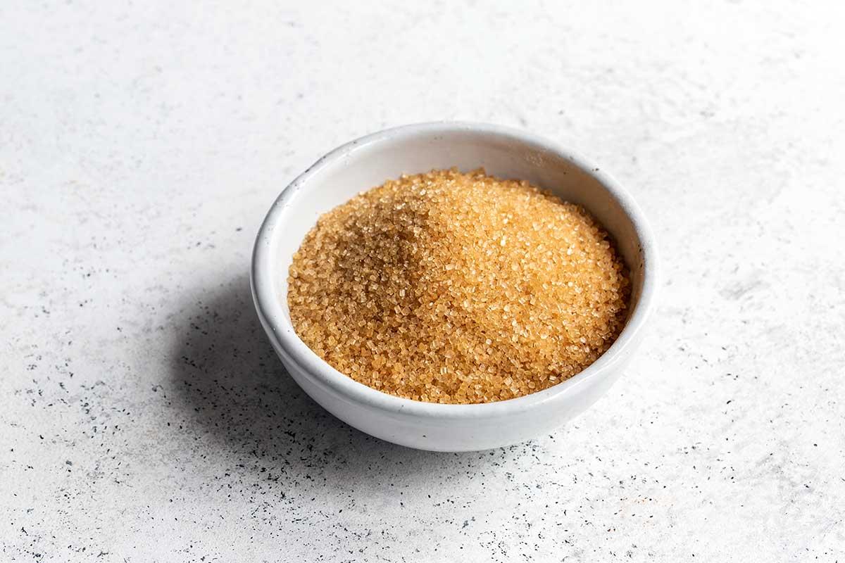 Raw turbinado sugar in a bowl