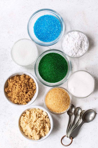 Different types of sugar in a bowl