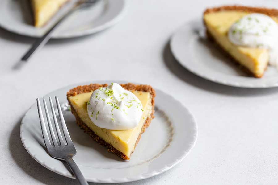 3 slices of key lime pie on plates