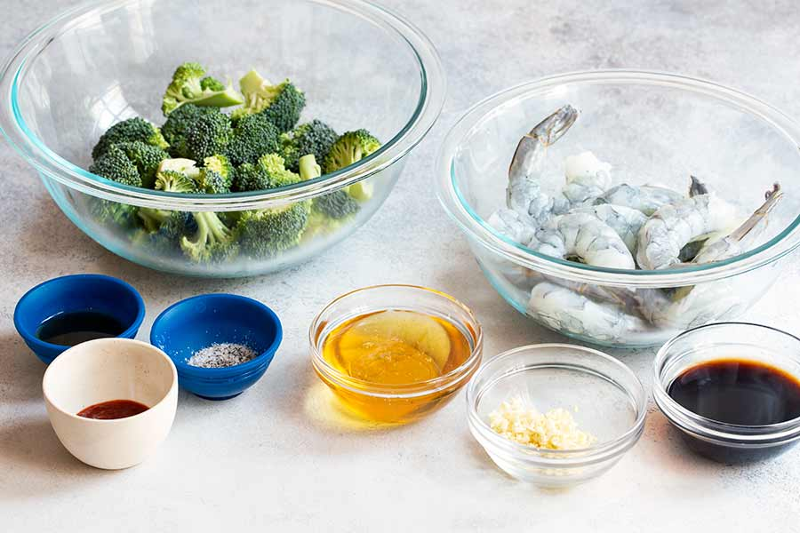 ingredients for honey garlic shrimp