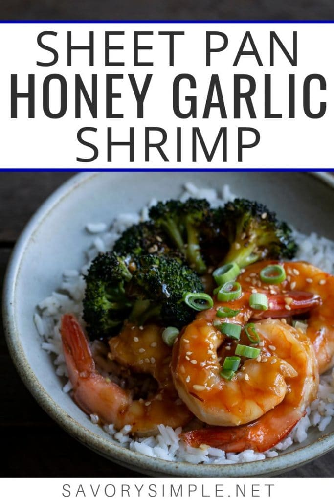 This Sheet Pan Honey Garlic Shrimp recipe is an easy, flavorful dinner that comes together in less than 30 minutes! Broccoli is roasted along with the shrimp for a complete meal.