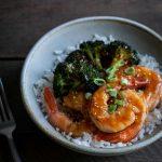 sheet pan honey garlic shrimp recipe in a bowl