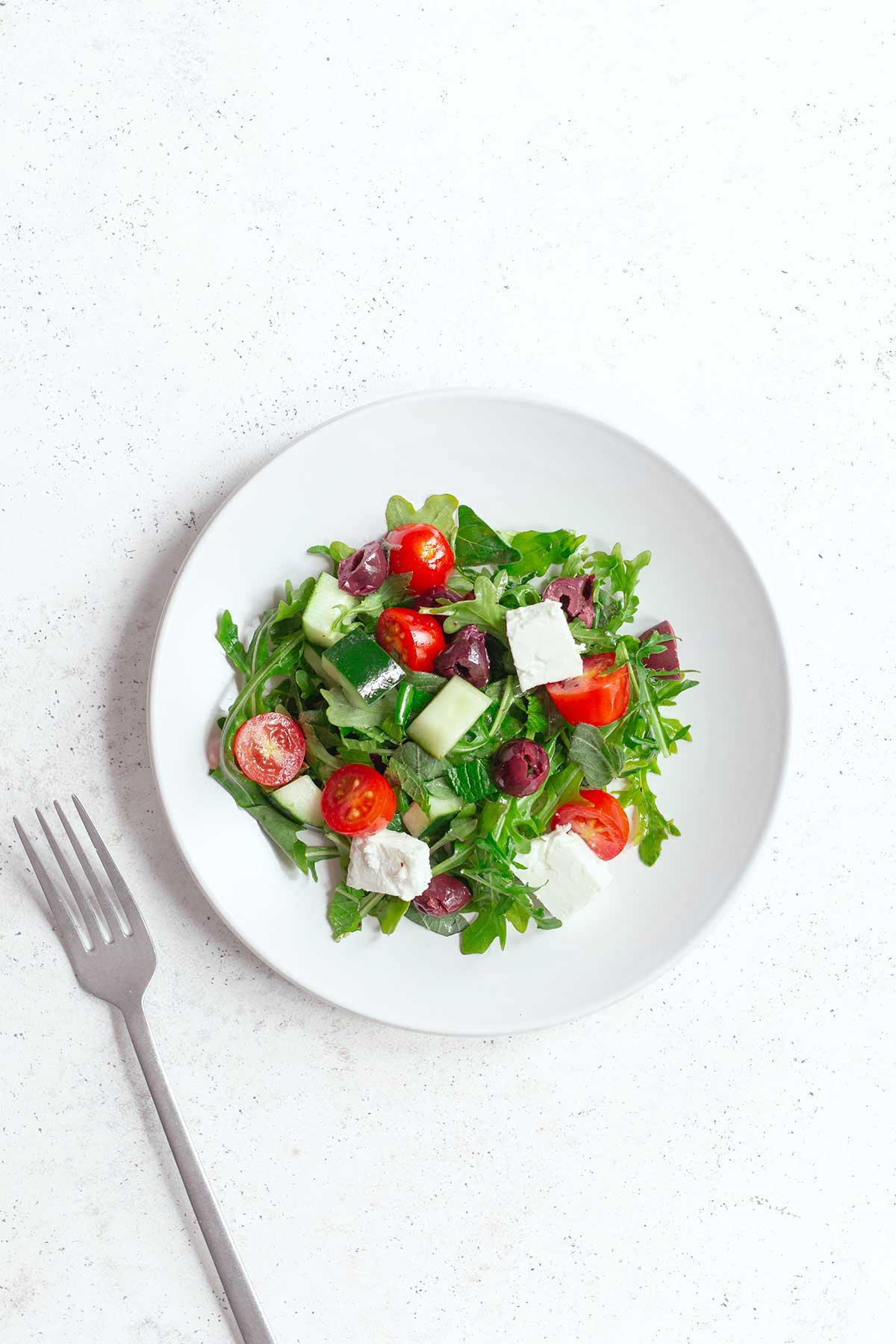 Finished Greek salad recipe on a plate