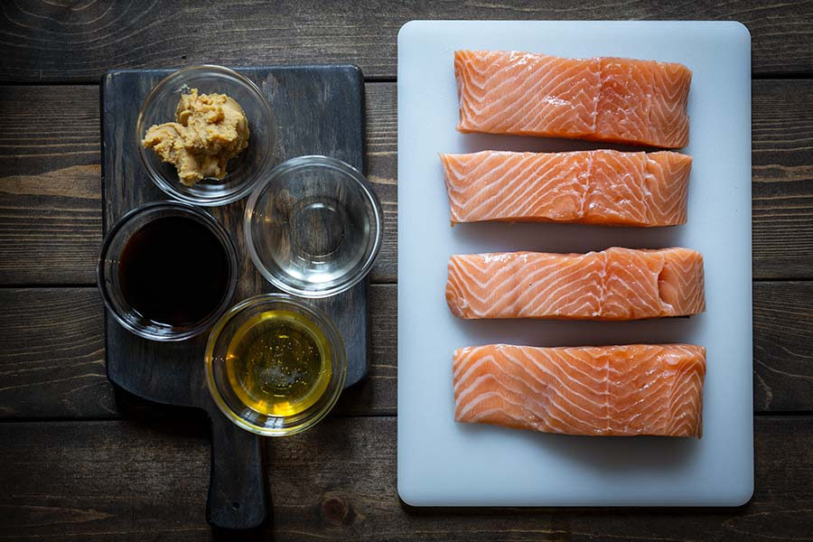 ingredients for miso salmon recipe