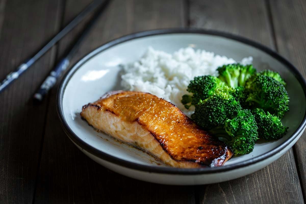 Miso salmon with chop sticks