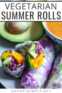 Many summer rolls in a lightly greased baking pan collage - Vegetarian summer rolls recipe photo with text overlay