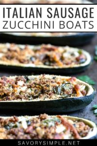 "Side angle closeup of sausage-stuffed zucchini boats recipe with text overlay: ""Italian sausage zucchini boats"""