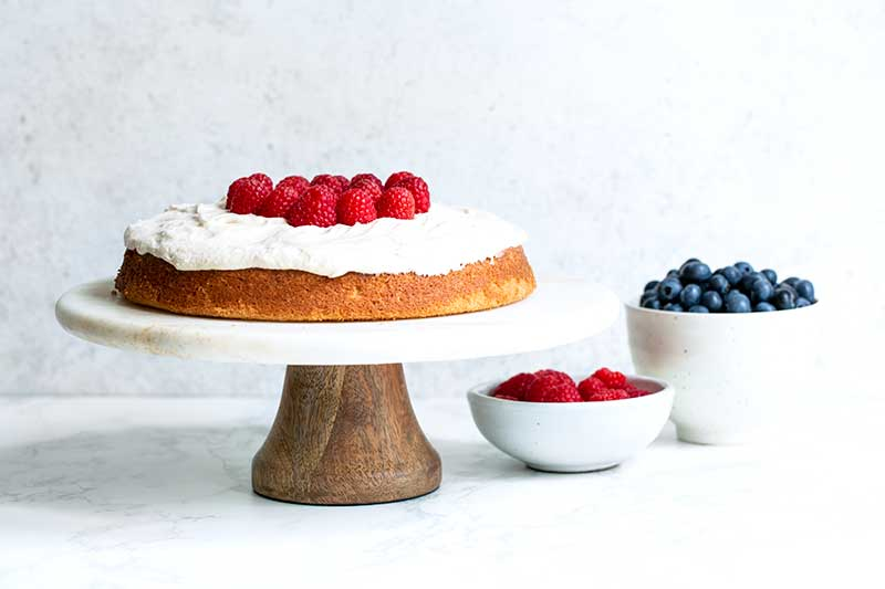Raspberries topping the center of the 4th of July cake