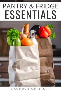 Grocery bags full of pantry essentials
