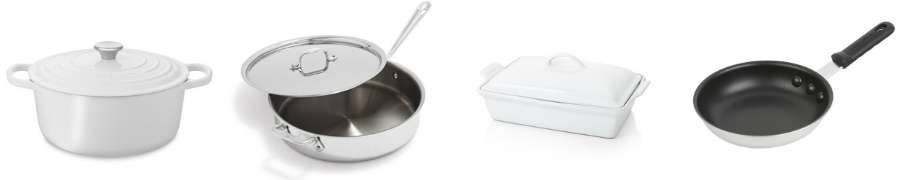 4 pieces of essential kitchen cookware- a dutch oven, sautoir, nonstick skillet, and casserole dish