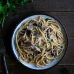 Creamy mushroom pasta recipe on a plate with a fork
